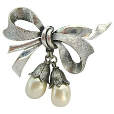 Tortolani Silver Tone Bow Brooch with Faux Pearl Dangles