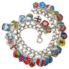 835 Silver Travel Charm Bracelet Germany Austria Switzerland, and More 800-925 Silver Charms.