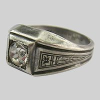 Uncas Sterling Silver 925 Ring Clear Paste Art Deco Design