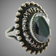 Impressive Sterling Silver 925 Faceted Hematite Ring Large Presentation
