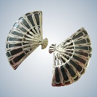 Made in Siam Sterling Silver 925 Fan Shaped Clip Earrings