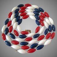 Long Red White Blue Plastic Torpedo Bead Necklace Hong Kong 57 Inches