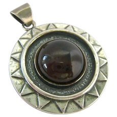 Sterling Silver 925 Round Amber Pendant