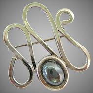 Sterling Silver 925 Hematite Open Wavy Pin Brooch