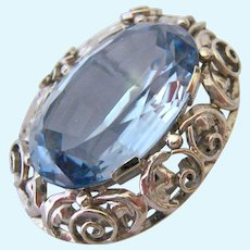 Impressive Large 14K White Gold Blue Spinel 29 Carats Estimated Weight Brooch or Pendant