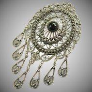 Large Sterling Silver 925 Cannetille Dangle Brooch Pendant