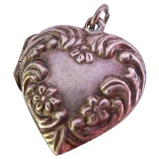 Sterling Silver 925 Repousse Puffy Heart Locket Pendant Signed