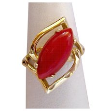 14K Gold Coral Marquise Ring Open Design Diagonal - Red Tag Sale Item