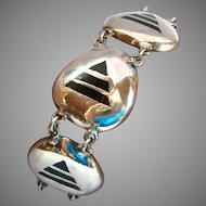 Sterling Silver 925 Bracelet Black Inlay Geometric Chunky
