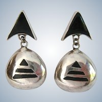 Sterling Silver 925 Dangle Post Earrings Black Inlay Geometric Design