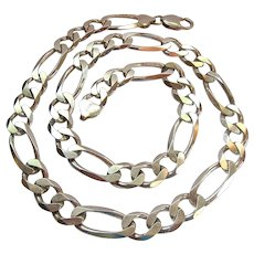 Heavy 80.3 Grams Sterling Silver 925 Figaro Link Necklace 20 Inches