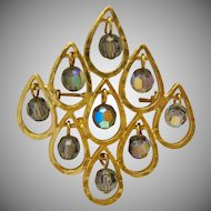 Vintage Coro Brooch with Dangling Faceted AB Beads inside Windows
