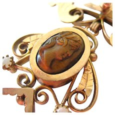 Victorian Gold Filled Book Chain Necklace Carved Tiger Eye Scarab Pendant with Memorial Chamber