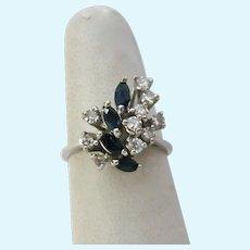 14K Gold White Sapphire Blue Spinel Spray Ring