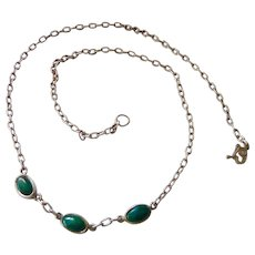 Sterling Silver 925 Necklace with 3 Three Green Stone Stations