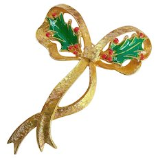 Large Mimi di N Christmas Holiday Bow Brooch Dated