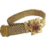 Victorian Gold Filled Mesh Slide Bracelet Red Paste Stone