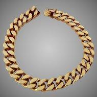 Heavy Curb Link Bracelet Amerik FBM Germany Amerikaner Gold Plate