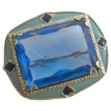 Ar Deco Enamel and Blue Paste Silver Tone Pin
