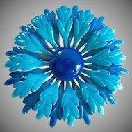 Large Blue Turquoise Enamel on Metal Layered Flower Pin