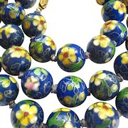 Cloisonné Bead Necklace Hand Knotted Filigree Clasp