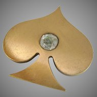 Old Brushed Gold Tone Spade Brooch with Clear Paste Stone and C-Catch