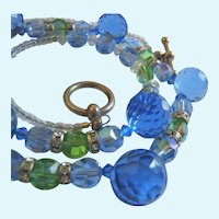 Stunning Faceted Blue Green Glass Crystal Necklace Sterling 925 Toggle Clasp