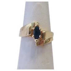 14K Gold  Marquise Sapphire By-Pass Ring