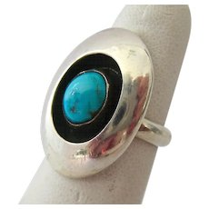 Sterling Silver 925 Turquoise Ring Shadowbox Design