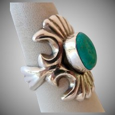 Outstanding Sterling Silver 925 Turquoise Ring Appears Sand Cast