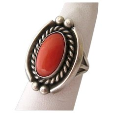 Sterling Silver 925 Coral Ring Southwestern Style