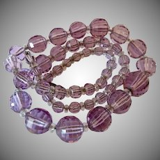 Vintage Lavender Faceted Graduated Glass Bead Necklace