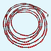 78 Inches Extra Long Faceted Red and Black Rod Glass Necklace Sterling 925 Clasp