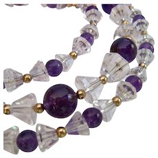 Rock Crystal, Amethyst and 14K Gold Necklace with Gold Filled Clasp