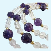 Amethyst and Rock Crystal Bead Necklace 10K Gold Spacers GF Clasp