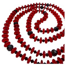 Red and Black Glass Bead Necklace Endless