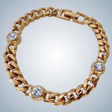 NOS Vintage Napier Gold Tone Bracelet with Clear Crystals 1992