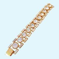 NOS--Vintage Napier 1990 Hollywood Collection Bracelet Gold Plated Crystal
