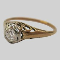 14K Gold Art Deco Ring Old Cut Diamond