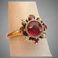 10K - 12K Gold Victorian Red Gemstone and Pearl Ring