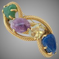 Large Quality Gold Plated Brooch with Four Large Gemstones