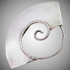 Large Sterling Silver 925 Abstract Pin Brooch Signed Lunt