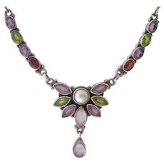 Sterling Silver 925 Multi Gemstone Necklace Garnet Amethyst Peridot