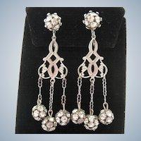 Elegant Girandole Silver Tone Rhinestone Dangle Clip Earrings