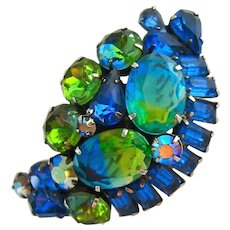 Stunning Large Blue Green Rhinestone Brooch High Quality