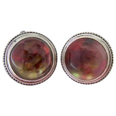 Stephen Dweck Sterling Silver 925 Rock Crystal MOP Clip Earrings Large Domed