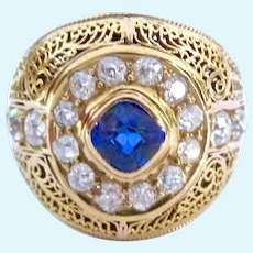 Spectacular 18K Old Mine Cut Diamond and Ceylon Sapphire Ring GIA Certified
