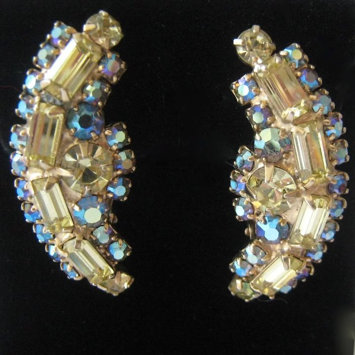 c161e52735c47 Hattie Carnegie AB Crystal Clip Earrings Ear Climber Style