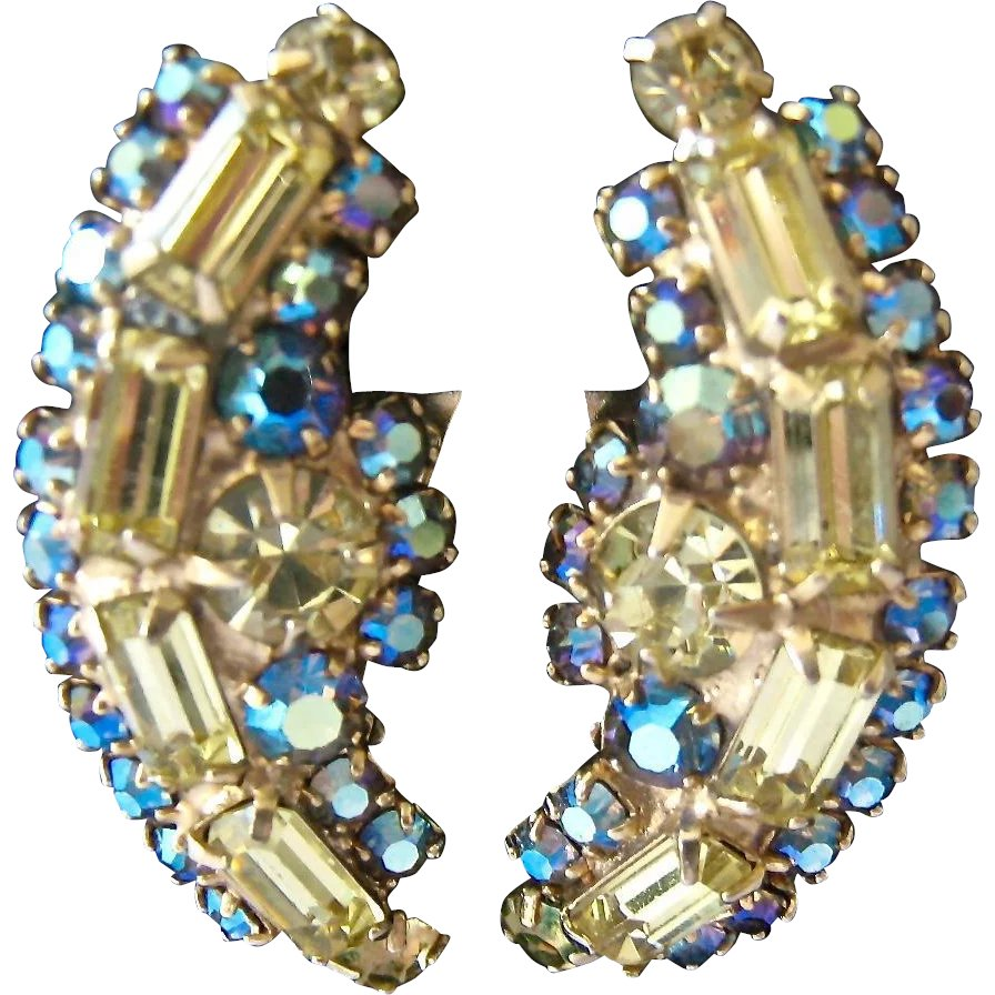 b822d7bc84652 Hattie Carnegie AB Crystal Clip Earrings Ear Climber Style ...