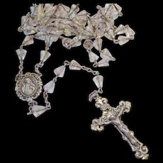 Sterling Silver 925 Catholic Rosary Clear AB Crystal Beads Signed Chapel